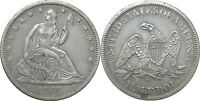 1865 S 50C LIBERTY SEATED HALF DOLLAR EXTRA FINE DETAILS