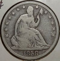 1858 S SEATED LIBERTY HALF DOLLAR  SAN FRANCISCO MINT DATE    0906 11