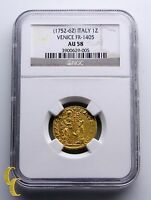 1752 1762 ITALY 1 ZECCHINO DUCAT GOLD COIN VENICE FR 1405 GRADED BY NGC AU 58