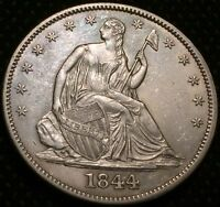 1844  PHILADELPHIA MINT SILVER SEATED HALF DOLLAR FREE S/H