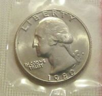 1980D U. S. WASHINGTON QUARTER UNCIRCULATED UNOPENED MINT SEALED 25 CENT COIN