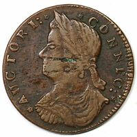 1787 33.37 Z.9 R 5 DRAPED BUST LEFT CONNECTICUT COLONIAL COPPER COIN