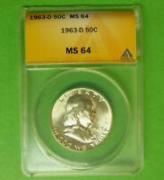 1963 D ANACS MS64 FRANKLIN SILVER HALF DOLLAR BLAZING MINT LUSTER MS 64 COIN