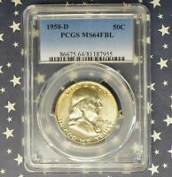 1958 D PCGS MS64 FBL SILVER FRANKLIN HALF DOLLAR MS 64 FULL BELL LINE COIN