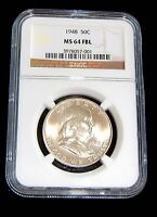 1948 FRANKLIN HALF DOLLAR NGC CERTIFIED MS 64 WTIH FULL BELL LINES