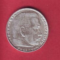 R GERMANY 2 MARK SILVER 1939 D HINDENBURG VF DETAILS