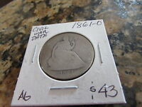 1861 O SEATED LIBERTY SILVER HALF DOLLAR CIVIL WAR COIN NEW ORLEANS MINT 50C