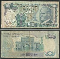 TURKEY 500 LIRA 1970 1984 IN VG CONDITION BANKNOTE
