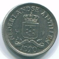1970 NETHERLANDS ANTILLES 10 CENT NICKEL COLONIAL COIN S13342