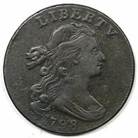 1798 S 169 R 3 DRAPED BUST LARGE CENT COIN 1C