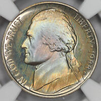 1988 S JEFFERSON NICKEL NGC PF67   ALBUM RAINBOW COLOR TONED PROOF T18