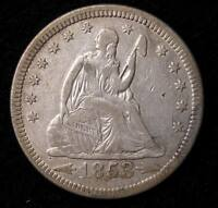 1853 SEATED LIBERTY QUARTER    XF DETAILS 16140