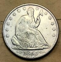 1855 O SEATED LIBERTY HALF XF/AU