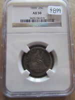 1839 LIBERTY SEATED QUARTER NGC AU50 COLOR TONING 25 CENT COIN