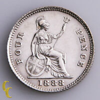 1888 GREAT BRITAIN 4 PENCE SILVER COIN KM 772