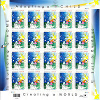 3398 - 33 ADOPTION ISSUE, MNH SHEET OF 20 FV $6.60