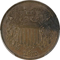 1870 PCGS UNC DETAILS SHIELD TWO CENT 2C - PROOF - BN - DAMAGE