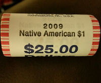 2009 NATIVE AMERICAN SACAGAWEA GOLDEN DOLLAR UNC ROLL   25 COINS. NF STRING WRAP