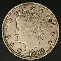1903 LIBERTY V NICKEL STRONG COIN W/ GREAT DETAIL SHIPS FREE 8578