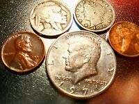 BIG KENNEDY HALF DOLLAR CLAD PLUS A V-NICKEL LIBERTY,A BUFFALO, 2 RANDOM WHEATS