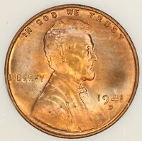 1941 D LINCOLN CENT NGC MS67RD WHEAT PENNY OLD FATTY SLAB RED COLOR TONED E4