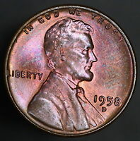 1958 D LINCOLN WHEAT CENT BEAUTIFUL BLUE TONED COLORED  8512