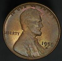 1958 D LINCOLN WHEAT CENT MINT SET COLOR NICE RAINBOW  8513