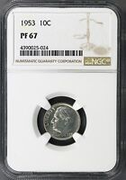 1953 ROOSEVELT SILVER DIME 10C NGC PF67