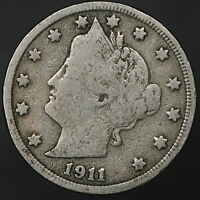 1911 LIBERTY V NICKEL STRONG ORIGINAL COIN W/ PARTIAL LIBERTY 7598