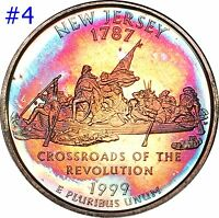 1999 S NEW JERSEY SILVER STATE QUARTER SELECTION LOT BU PR RAINBOW COLOR TONED
