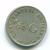 1970 NETHERLANDS ANTILLEN  1/10 GULDEN COLONIAL COIN SILVER NL131103