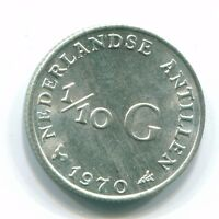 1970 NETHERLANDS ANTILLEN  1/10 GULDEN COLONIAL COIN SILVER NL130083