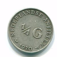 1970 NETHERLANDS ANTILLEN 1/4 GULDEN SILVER COLONIAL COIN NL116924