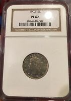 1902 5C PROOF LIBERTY V NICKEL NGC PF62