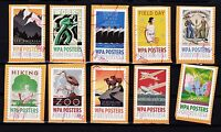 UNITED STATES NEW WPA POSTERS 10 VALUES POSTALLY USED
