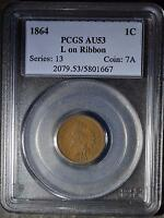 1864 L PCGS AU53 INDIAN HEAD CENT CIVIL WAR ERA  OLD COIN SHIPS FREE