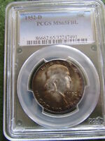 1952 D FRANKLIN SILVER HALF DOLLAR PCGS MS65 FBL BULLS EYE TONED FULL BELL LINES