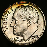 1962 D ROOSEVELT DIME SUPERB GEM W/ FULL TORCH BANDS INCREDIBLE LUSTER 8756