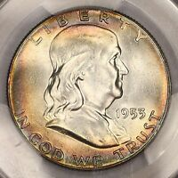 1953 P FRANKLIN HALF DOLLAR PCGS MS65FBL SUPER RAINBOW TONED COLORFUL TONING 5E