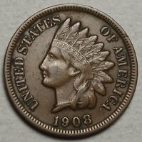 1908 S INDIAN CENT LY FINE ORIGINAL KEY DATE SAN FRANCISCO COIN 0117 02