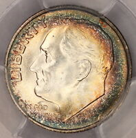 1947 S ROOSEVELT DIME PCGS MS66 CRESCENT RAINBOW TONED COLORFUL TONING 9H