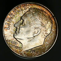 1962 D ROOSEVELT DIME NICE COLOR RAINBOW TONED SILVER COIN BEAUTIFUL 8549