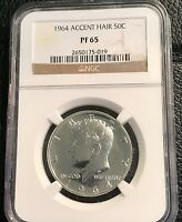 1964 KENNEDY HALF DOLLAR ACCENTED HAIR NGC PF 65 MAKE ME AN OFFER C0226