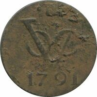 1791 VOC 1 DUIT UTRECHT NETHERLANDS EAST INDIES COLONIAL VOC1090.8UK