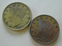 TWO 1883 LIBERTY V NICKELS GOLD PLATED RACKETEER COINS     FASCINATING HISTORY