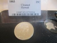 1883 HAWAII 25 CENT COIN 90 SILVER  CLEANED