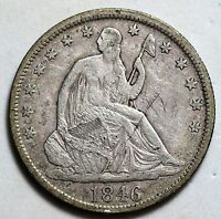 1846 TALL DATE SEATED LIBERTY HALF DOLLAR GREAT DETAILS SCRATCHED OBVERSE 50C