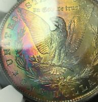 1881 S   MORGAN SILVER DOLLAR MS 64  STAR NGC   MONSTER RAINBOW TONING COLORFUL