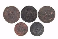 RUSSIAN EMPIRE COPPER COINS. DENGA. ANNA   IVAN   ELIZABETH. 1730 1762