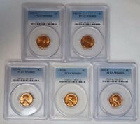 LOT OF FIVE 5 1953 D 1C LINCOLN WHEAT CENT PENNY PCGS MINT STATE 66RD RED